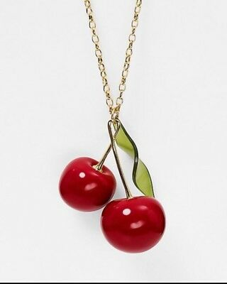 """Kate Spade New York Ma Cherie Delicious Red Cherry Pendant Long Necklace 32 """"New"""
