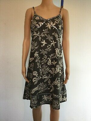 river Island summer dress, uk8 100% cotton, mocha /white excellent condition