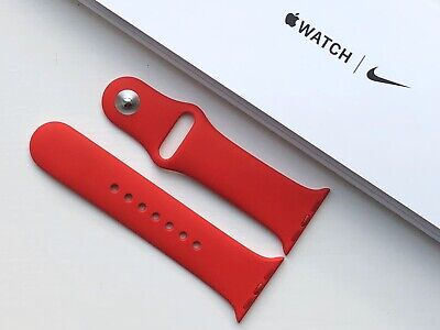 NEW GENUINE APPLE WATCH SPORT BAND 38/40mm (PRODUCT) RED - 2 Part M/L