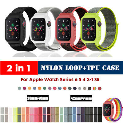 40/44mm Nylon Sport Loop+Case iWatch Band Strap for Apple Watch Series 5 4 3 2 1