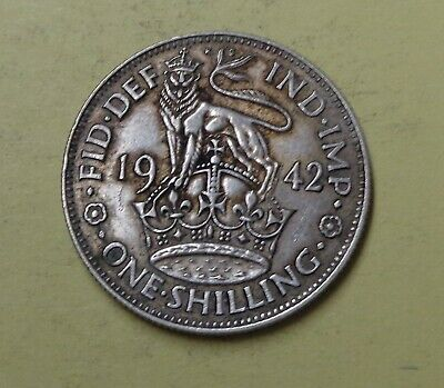GREAT BRITAIN One Shilling Silver Coin 1942 High Grade