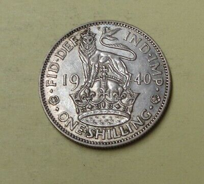 GREAT BRITAIN One Shilling Silver Coin 1940 High Grade