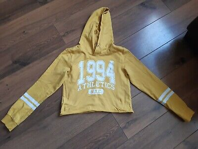 Girls H&M  yellow cropped hoodie jumper  age 10-12 years