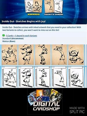 Topps Disney Collect Presale Inside Out Sketches Standard & Motion 10 Card Set