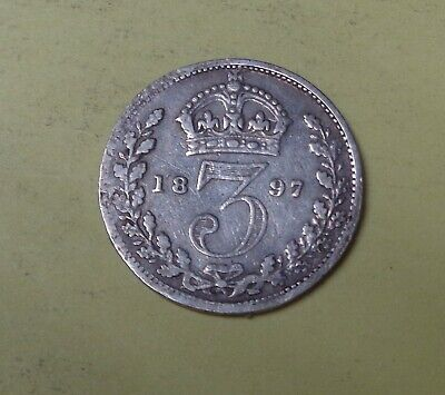 GREAT BRITAIN 3 PENCE 1897 Silver Coin