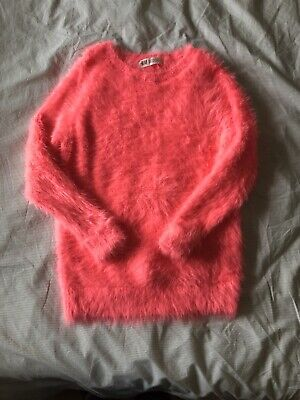 H&M Bright Pink Fluffy Girls Jumper 8-10years