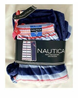 NWT - Nautica Girls Super Soft 2 Pairs Of Pajama Pants - Size 12