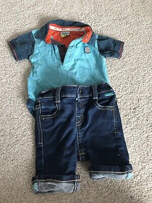Boys Ted Baker Top And Denim Shorts 6-9 Months