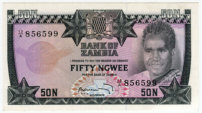 Zambia 1973 Issue 50 Ngwee Banknote Superb Crisp Gem-Unc.pick#14.