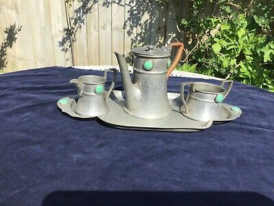 Philip Ashberry Arts & Crafts Pewter Coffee Set , Ruskin Style Ceramic Roundels.
