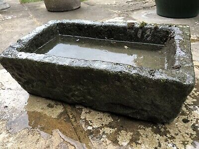 Original Hand Carved Antique Welsh Stone Garden Trough