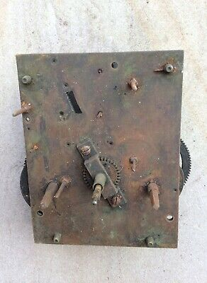 Antique  8 Day Grandfather Longcase Clock Movement For Spare Parts Or Repair
