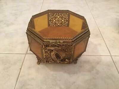 Vintage Gold Ormolu Glass Topped Jewelry Box,Octagon,Ornate Feet,Hinged Lid