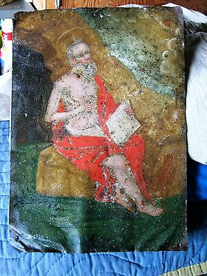 Antique Original Retablo On Tin Image Of Saint Jerome Unretouched