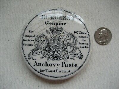 Antique English Ironstone Advertising Pot Lid BURGESS'S Anchovy Paste London