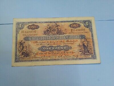Vintage 1940 The Clydesdale Bank Limited £1 B5499707 Mitchell And Young Signatur