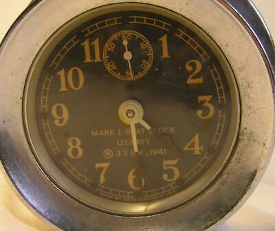 Antique Mark I Ships Boat Clock U.s. Navy 3788.1941 Ship`s Nickle Plated Brass