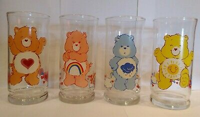 Vintage Care Bears Limited Edition Pizza Hut Glasses Lot 4 Cheer Tender Grumpy