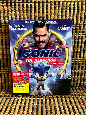 Sonic the Hedgehog: The Movie (2-Disc Blu-ray/DVD, 2020)+Slipcover & Comic Book