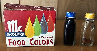 Vintage Set of McCormick Food Color Glass Bottles w/ Box