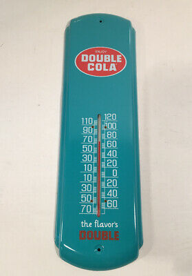 Metal Thermometer Double Cola - Aqua - Vintage Style Soda Advertising - Licensed