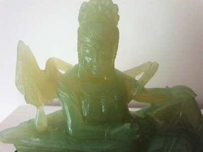 Old Chinese Large Jade Beautiful Carved Green Figure in original box