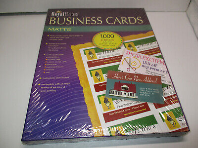 NOS Royal Brites Matte Business Cards White 2 x 3.5 Inches Box of 1000