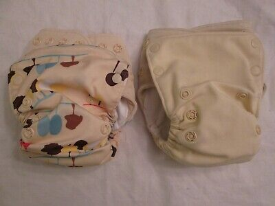 Lot 2 GroVia AIO All In One Cloth Diapers with Snap-in Boosters Vanilla Nature