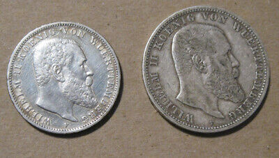 Wurttemberg (Germany) - (2) Silver Coins (1904 & 1910)