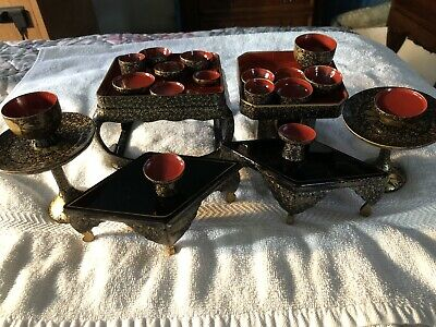 Lot Japanese Wooden Lacquer ware TRAY for festive food Hina doll Furniture