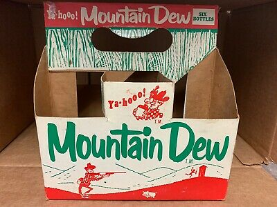 Vintage Hillbilly Mountain Dew Cardboard Carrier Redhead & Laughing Pig Graphics