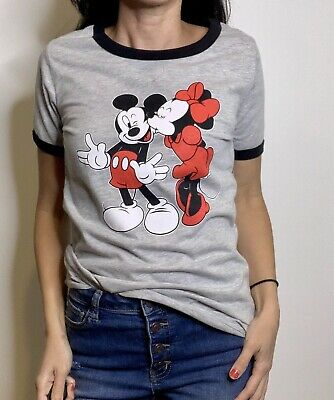 DISNEY T-Shirt Size S Mickey Mouse Minnie Mouse NEW $24 Retail Gray Soft Crew
