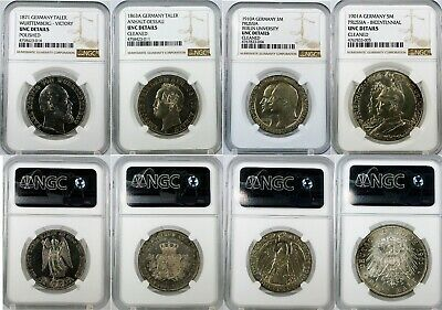 Germany Lot of 4 Coins - NGC Graded 1871 Taler, 1910A 3M, 1901 A 5M, 1863A Taler