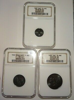 Sweden 3-pc Iron NGC Lot: Ore 1949 MS66, 2 Ore 1949 MS66, 5 Ore 1950 MS65