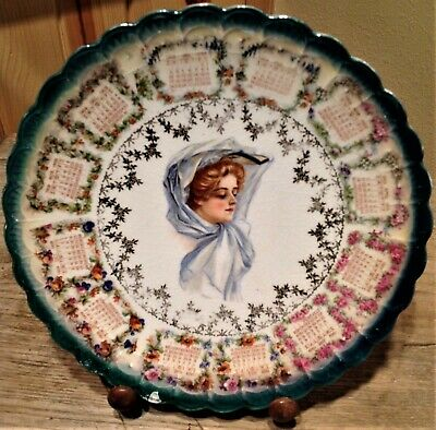 """1909 CALENDAR PLATE Compliments LUTEY'S Tea Coffee Dept. STERLING CHINA 9 1/8"""" D"""