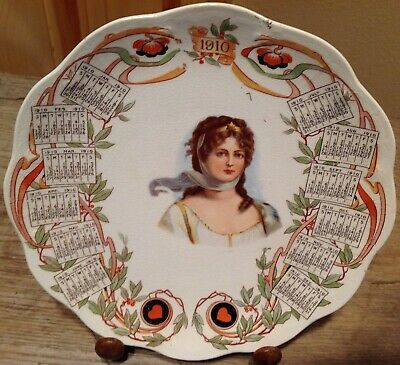"""1910 CALENDAR PLATE Advertising THE PEOPLE'S St. Louis MO. Lady Hearts 8 1/4"""" D"""
