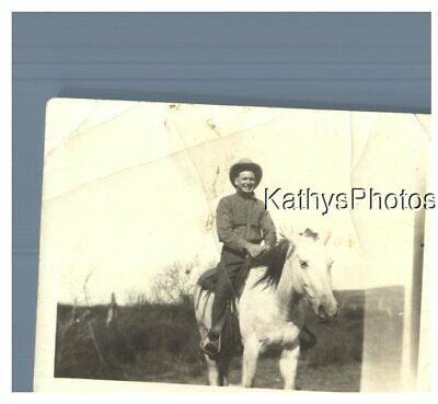 Found B&W Photo H_3176 Young Man On A Horse