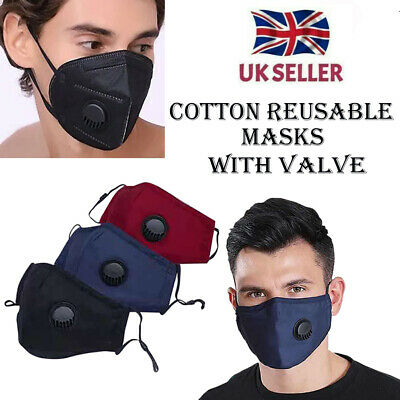 Protective Black Face Mask Reusable Washable Breathable Dust Pollution Allergies