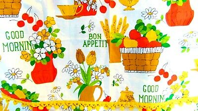 VTG Retro MCM 50-60's Fruit Floral Bon Appetit Kitchen Cafe Drapes Curtains Set