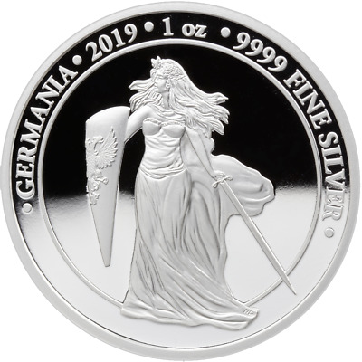 "Germania 2019 5 Mark ""Germania Proof Silver"" 1 Oz 9999 Silver Coin"