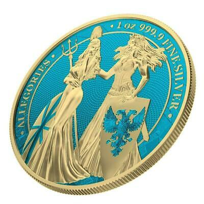 Germania 2019 5 Mark Germania & Britannia -Space Blue & Gold 1Oz Silver Coin