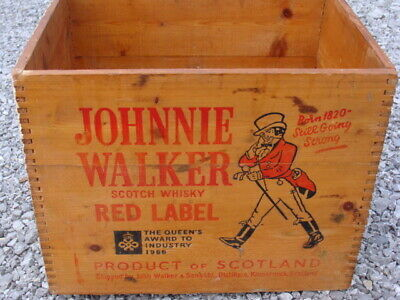 Johnnie Walker Red Label Scotch Whiskey Wood Crate Box Scotch Whiskey Distillers