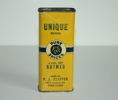 "Vintage Spice Tin-UNIQUE BRAND NUTMEG, P.J. SHAFFER, PEORIA, IL 4 OZ. 51/4"" tall"