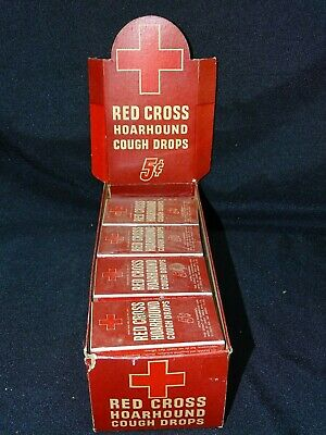 Vintage store display Red Cross Hoarhound Cough Drops w/ 19 original packs