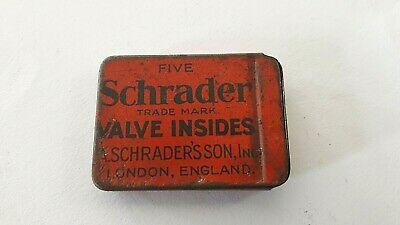 Vintage Schrader London England Valve Insides Tin With Cores - Lovely Condition!