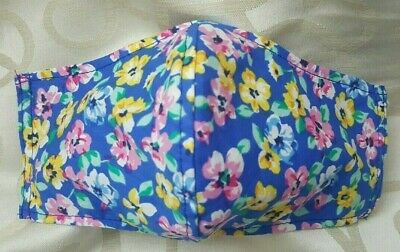 Adult Size Handmade Reusable 100% Cotton Fabric Face Mask with Filter Slot