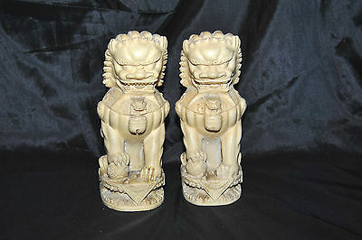 """Vintage Pair Resin Chinese Foo Dogs Figurine 7 1/2"""" Tall HEAVY!!!"""