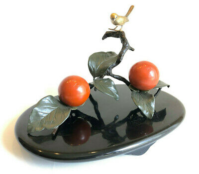 Japanese Bronze Bird and Persimmons Lacquered Base - Artist Signed
