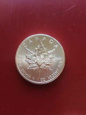 2012 $5 Canadian maple leaf 1 ounce .9999 fine silver