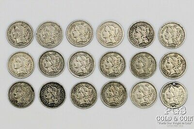 18 Three Cent Nickel 3c 1870 1871 1874 1876 1881 Circulated US Coins 18925
